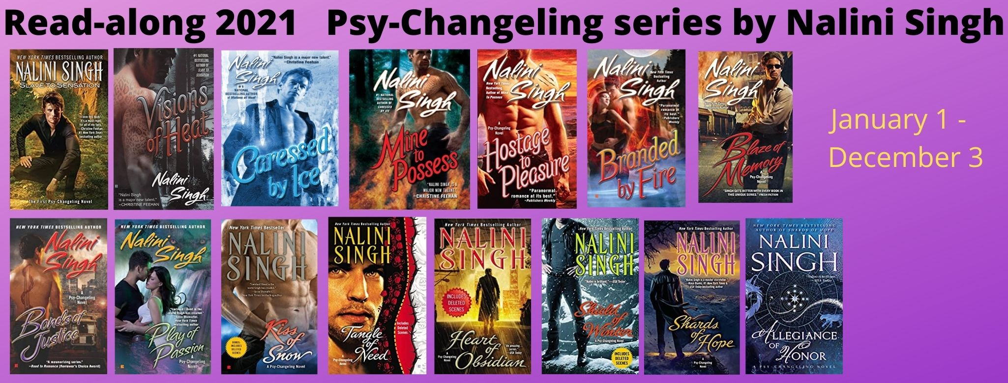 Audio codes for all 15 books in the Psy-Changeling series by Nalini Singh (open Intl)